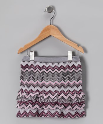 Light Pink Zigzag Ruffle Skirt - Girls