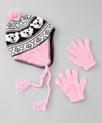 Pink & White Bear Earflap Beanie & Gloves