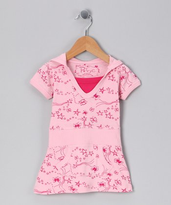 Fuchsia Star Hooded Dress - Infant