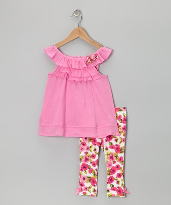 Pink Flower Ruffle Tunic & Leggings - Girls