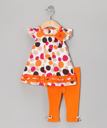 Orange Polka Dot Angel-Sleeve Tunic & Leggings - Girls