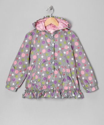 Gray Polka Dot Jacket - Girls