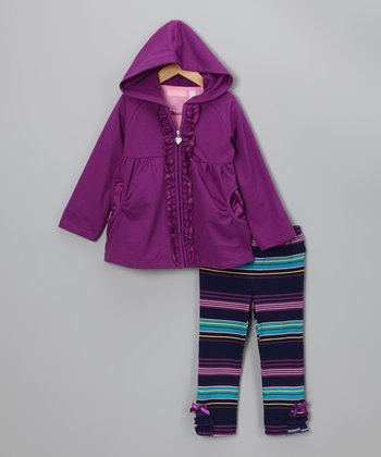 Pink & Purple 'Love' Jacket Set - Toddler