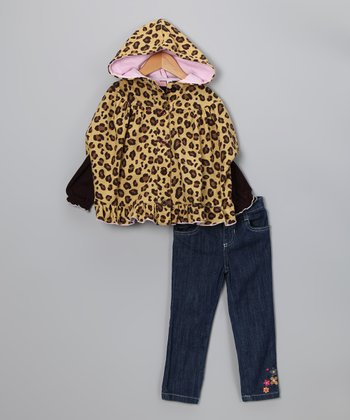Brown & Leopard Heart Jacket Set - Toddler
