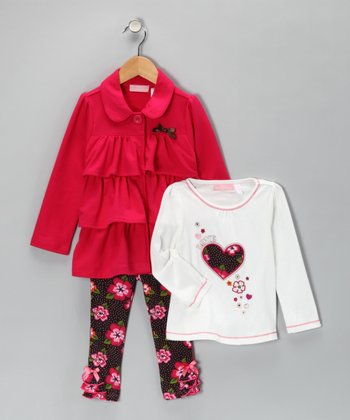 Fuchsia & White Ruffle Jacket Set - Toddler