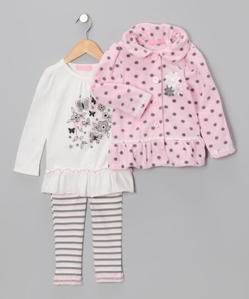 Pink & White Polka Dot Jacket Set - Toddler