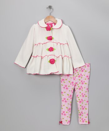 Pink & White Floral Jacket Set - Toddler