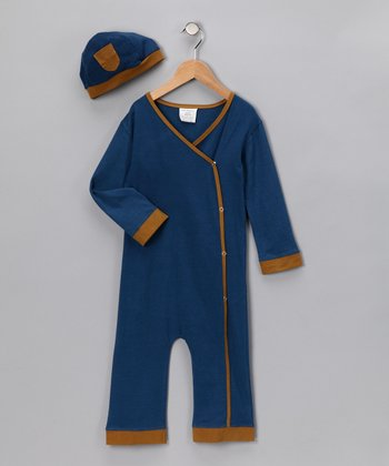 Kids Organic Blue Playsuit & Beanie - Infant & Toddler