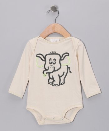 White & Baby Green Elephant Organic Bodysuit - Infant