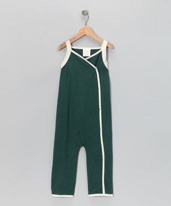 Leaf Green & Natural Overalls - Infant