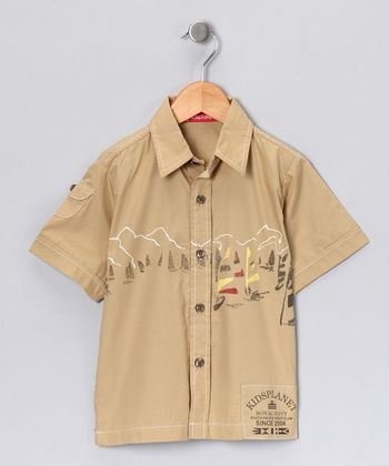 Tan Sailboat Button-Up - Boys