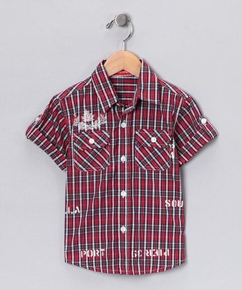 Black & Red Plaid Button-Up - Toddler & Boys