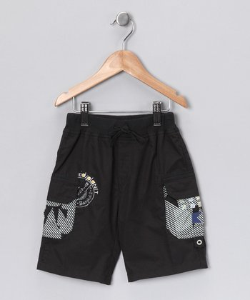 Navy & White Cargo Shorts - Boys
