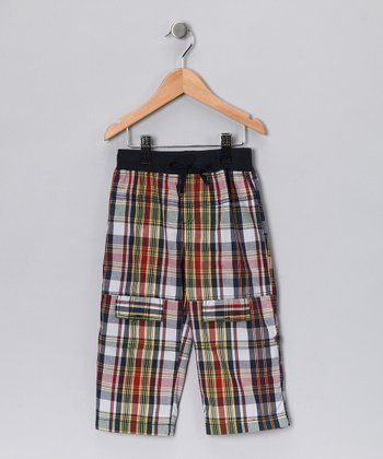Red Plaid Cargo Pants - Boys