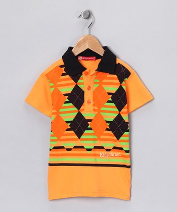 Orange & Green Argyle Polo - Boys