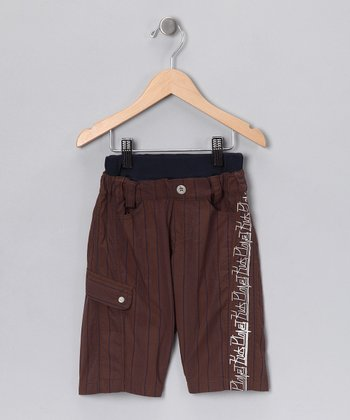 Brown Stripe Shorts - Boys