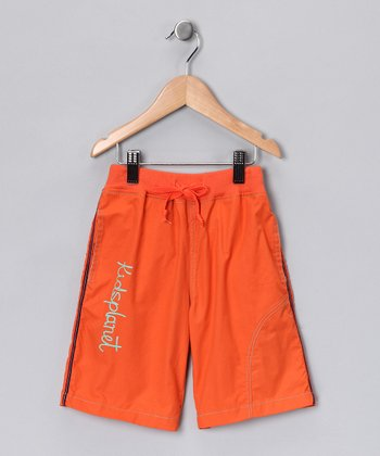 Orange 'Kids Planet' Shorts - Toddler & Boys