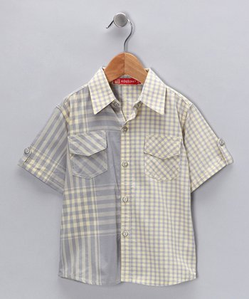 Gray & Yellow Plaid Button-Up - Boys