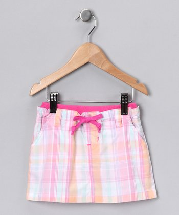 Pink Plaid Skirt - Girls