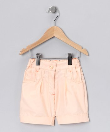Peach Cuffed Shorts - Girls