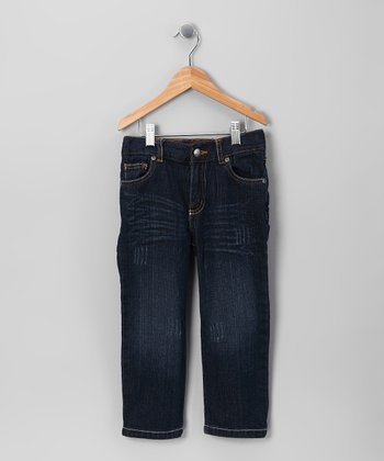 Dark Blue Vintage Wash Straight-Leg Jeans - Toddler