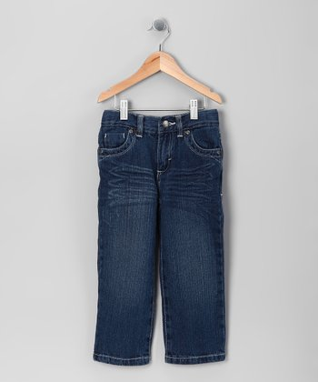 Blue Distressed Straight-Leg Jeans - Toddler