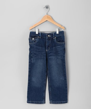 Dark Blue Fade Straight-Leg Jeans - Toddler