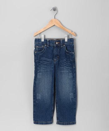 Dark Blue Distressed Straight-Leg Jeans - Toddler