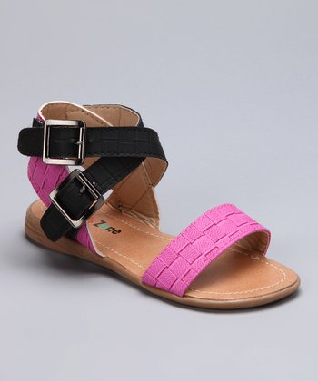 Fuchsia Double-Buckle Sandal