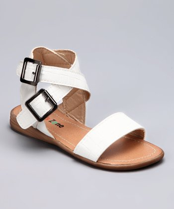 White Double-Buckle Sandal