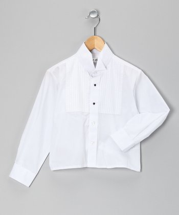 White Tall Tuxedo Button-Up - Toddler & Boys