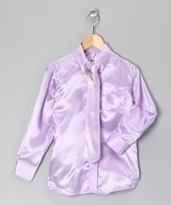 Lavender Button-Up Set - Boys