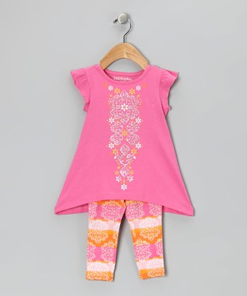 Pink Angel-Sleeve Tunic & Leggings - Infant & Girls