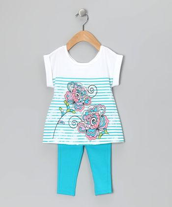 Blue Floral Stripe Tunic & Leggings - Infant