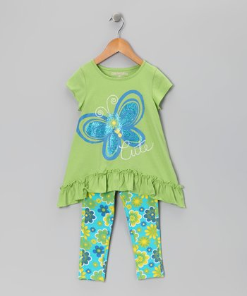 Green 'Cute' Butterfly Tunic & Leggings - Toddler