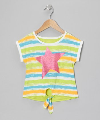 Green & Blue Star Tie-Front Tee - Girls