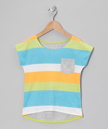 Blue Stripe Hi-Low Tee - Girls