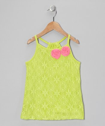 Green Crocheted Racerback Tank - Girls