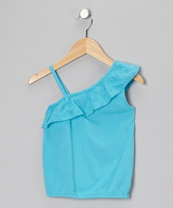 Blue Eyelet Ruffle Tank - Toddler & Girls