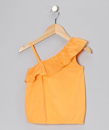 Orange Eyelet Ruffle Tank - Toddler & Girls