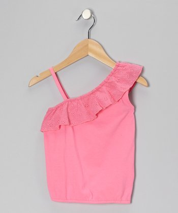 Pink Eyelet Ruffle Tank - Toddler & Girls