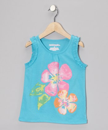 Blue Flower Tank - Toddler & Girls