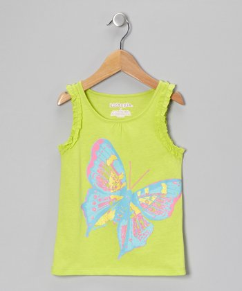 Green Butterfly Tank - Girls