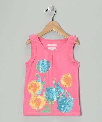 Pink Flower Tank - Girls