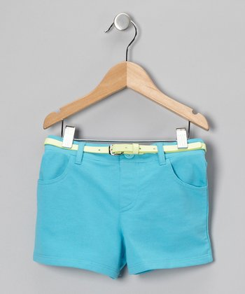 Blue French Terry Shorts - Girls