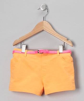 Orange French Terry Shorts - Girls