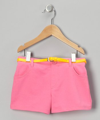 Pink French Terry Shorts - Girls