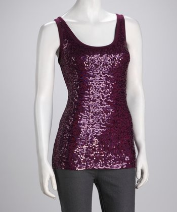Potent Purple Sequin Sleeveless Top