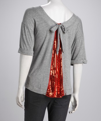 Dark Gray Mélange Shimmer-Back Top
