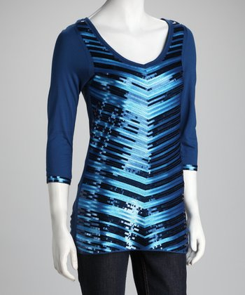 Estate Blue Chevron Shimmer Top